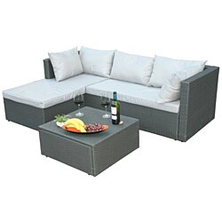Outdoor Patio Garden Contemporary Sectional Sofa with Cushion and Ottoman/Coffee Table, Gray