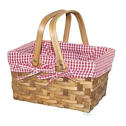 Rectangular Basket Lined with Gingham Lining