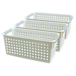 White Rectangular Plastic Shelf Organizer Basket with Handles