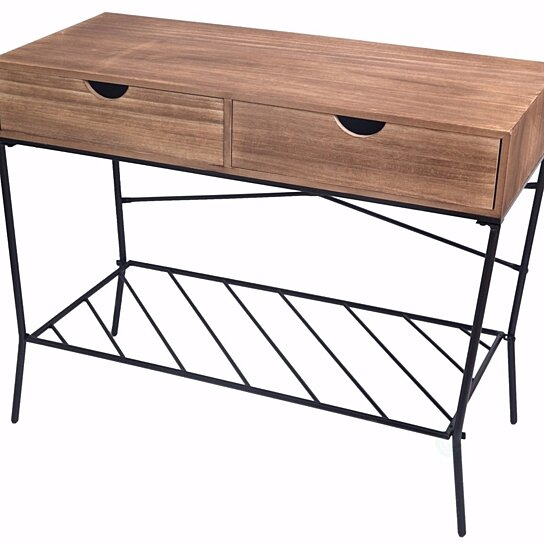 Wood And Metal Console Table With 2 Drawers Storage Shelf By Decorative Gift Gifts On Dot Bo