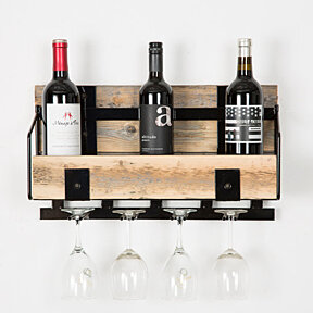 Barn wood and black metal wine rack