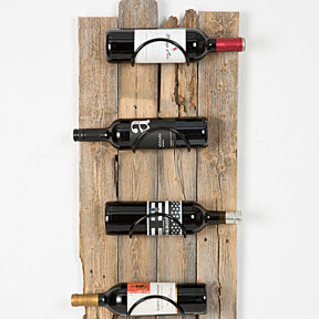 barn wood wall wine rack