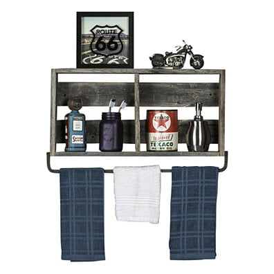 Barnwood Kitchen Shelf With Towel Holder