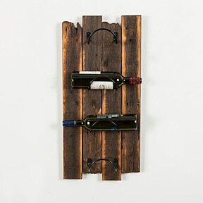 Dark walnut barnwood wine rack