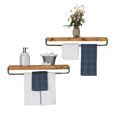 Floating shelf with towel rack set of 2