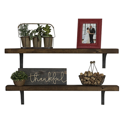 Industrial Grace Simple Bracket Shelves, Set of 2