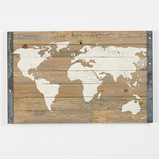 Industrial reclaimed wood world map (Free Shipping) on