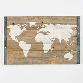 Industrial reclaimed wood world map