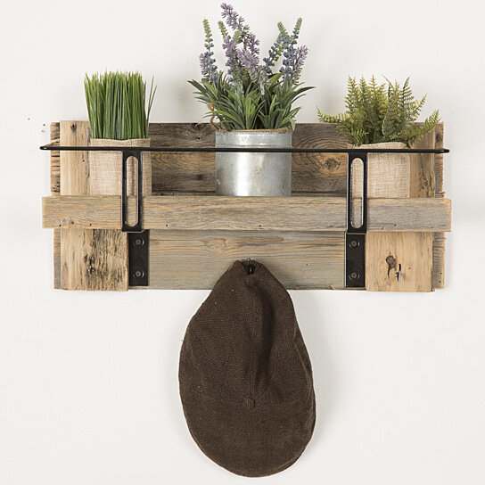 Buy Metal and Reclaimed entry shelf barnwood Free