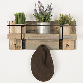 Metal and Reclaimed entry shelf - barnwood