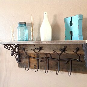 Reclaimed wood bird coat rack