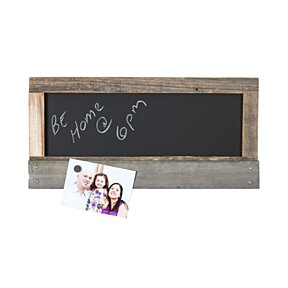 Reclaimed wood chalk board with magnet holder