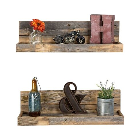 Reclaimed wood floating shelves - shallow depth - set of 2  (Free Shipping)