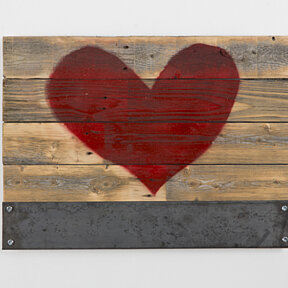 Reclaimed wood red heart sign with metal magnet holder