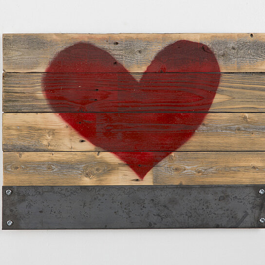 Buy reclaimed wood red heart sign with metal magnet holder for Where to find reclaimed wood for free