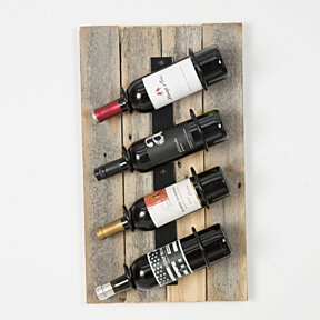 Reclaimed wood wall wine rack