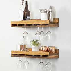 Rustic Luxe Stemware Shelves, Set of 2