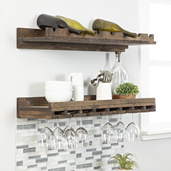 Rustic Luxe - tiered wine racks - large - set of 2-Dark Walnut-36 x 10