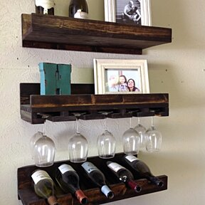 Set of 3 floating wine rack