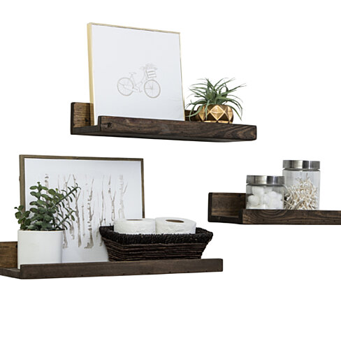 Set of 3 Shallow Rustic Luxe Shelves
