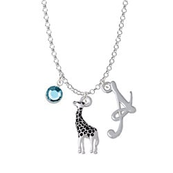 Giraffe - Script Initial and Crystal Charm Necklace