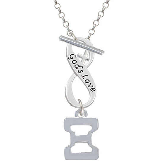 Delta 8 Silvertone Large Greek Letter Love Infinity Toggle Chain Bracelet