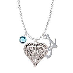 Large Open Filigree Heart - Script Initial and Crystal Charm Necklace