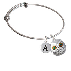 Large Round Owl with Green Crystal Eyes Initial Bangle Charm Bracelet