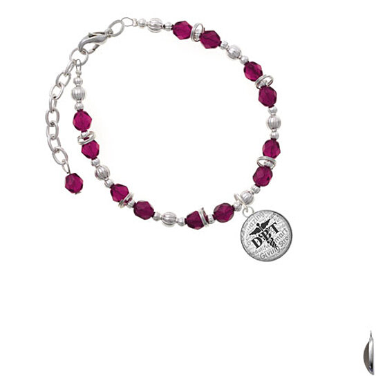 Buy Silvertone Domed Black Dpt Magenta Beaded Bracelet By