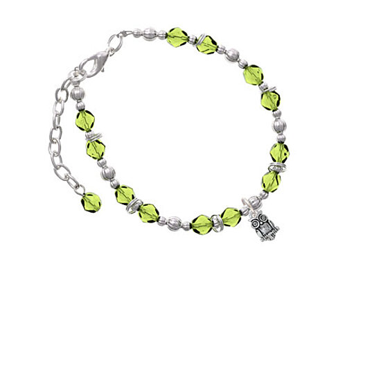 Buy Silvertone Mini Owl Lime Green Beaded Bracelet By