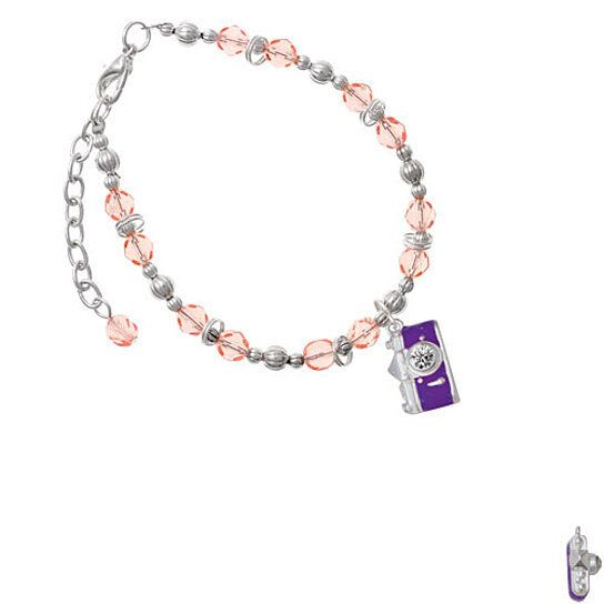 Buy Silvertone Purple Camera Pink Beaded Bracelet By