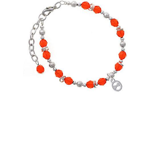 Buy Silvertone Small Greek Letter Theta Orange Beaded