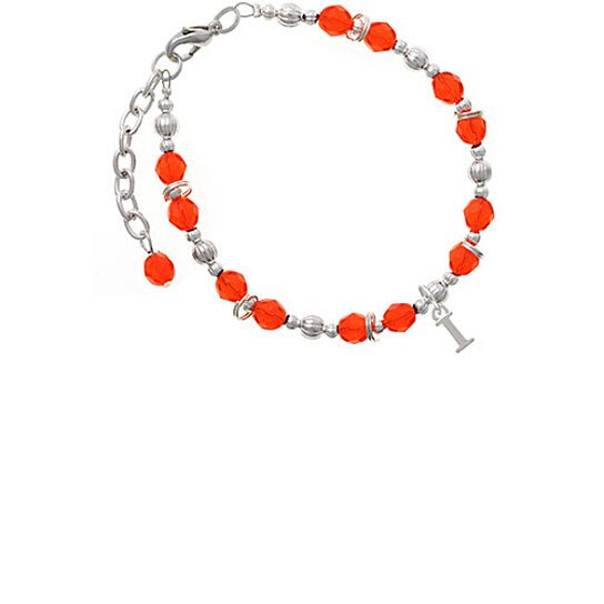 Buy Silvertone Small Initial I Orange Beaded Bracelet