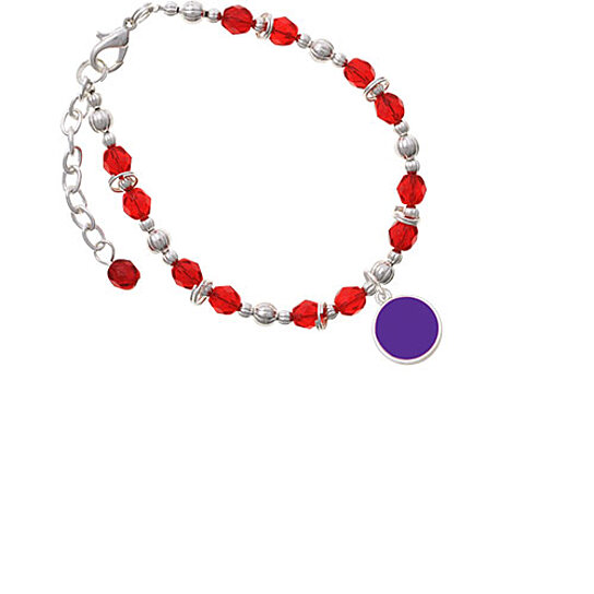 Buy Silvertone Small Purple Enamel Disc Red Beaded