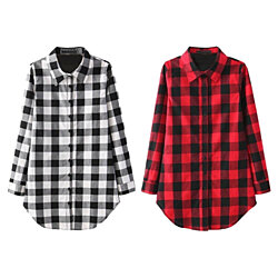Buffalo Plaid Long Tunic Button Down
