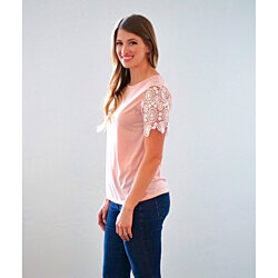 Lace Sleeve T-Shirt - 3  Colors