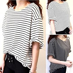 Half Sleeve Striped Tee - 2 colors