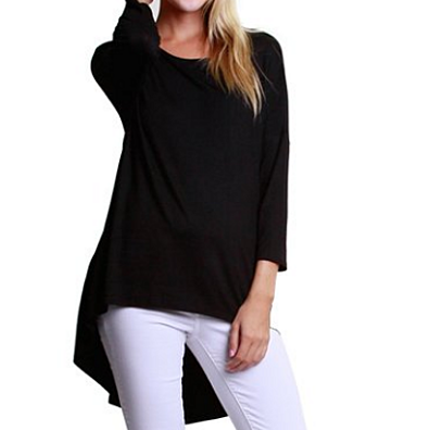 Womens Stretch Soft Fit 3/4 Sleeve High Low Tunic Top Shirt Blouse