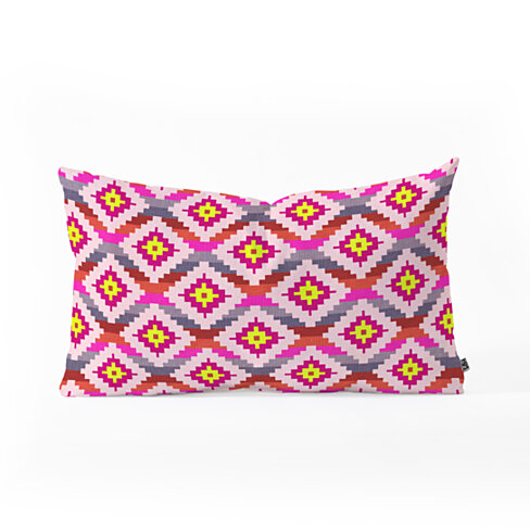 Bianca Green Aztec Diamonds Bright Oblong Pillow