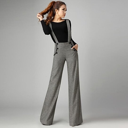 052f8325ac Buy Fashion Winter Thick Warm Wool Suspenders Pants Womens Wide Leg Palazzo  Pants Woman High Waist Houndstooth Bib Overalls Trousers by Designer  Housewares ...
