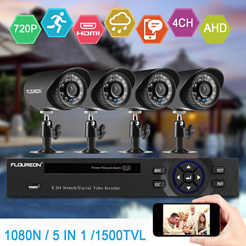Floureon 1 X 4CH Camera Security Kit 1080N AHD DVR + 4 X Outdoor 1500TVL 720P 1.0MP