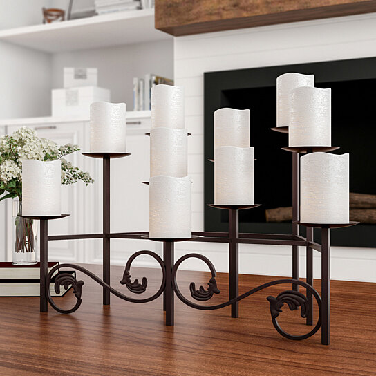 Buy 10 Candle Candelabra With Front Scroll Handcrafted Iron Holder Table Top Centerpiece Decor By Destination Home On OpenSky