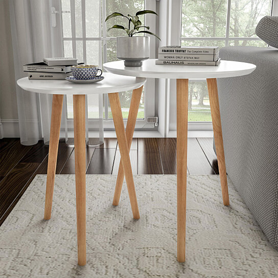 2 White Nesting End Tables Wood