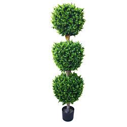 5 foot Pure Garden Hedyotis Triple Ball Artificial Tree Indoor Outdoor Fake Plant