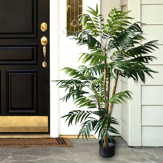 Buy 5 Ft Tropical Palm Artificial Tree Indoor Outdoor Fake Plant Patio Porch Decor By Destination Home On Dot Bo