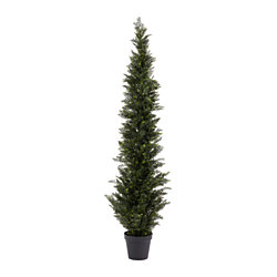 6-Foot-Tall Artificial Cedar Topiary Trees- Potted Indoor or Outdoor UV Protection Plastic Tree in Pot