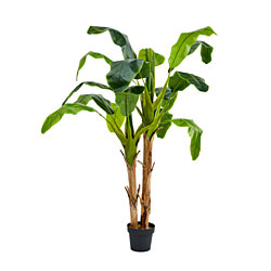 Artificial Banana Leaf Tree 72 Inch Double Trunk Style Faux Plant in Sturdy Pot- Realistic Indoor Potted Topiary