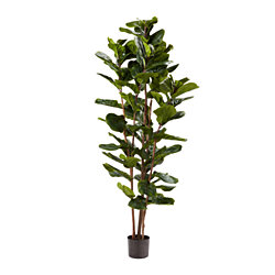 Artificial Fiddle Leaf Fig Tree-72 Inch Faux Plant in Pot with Natural Feel Leaves-Realistic Indoor Potted Topiary