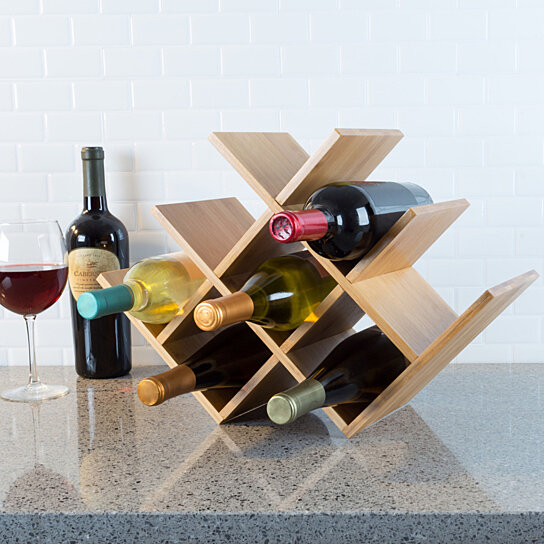 Buy Bamboo 8 Bottle Wine Rack Space Saving Tabletop Free Standing