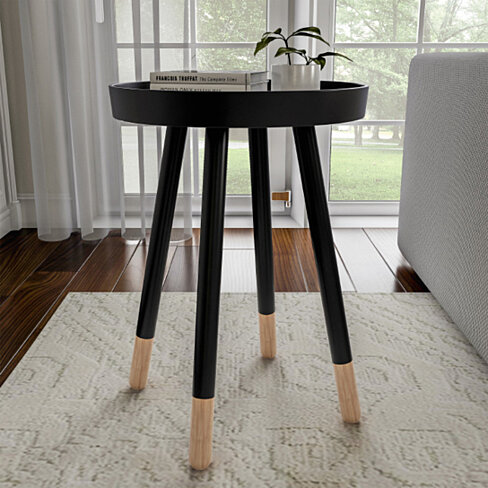 Black End Table Round Mid-Century Modern Wooden Contemporary Decor Display and Home Accent Table